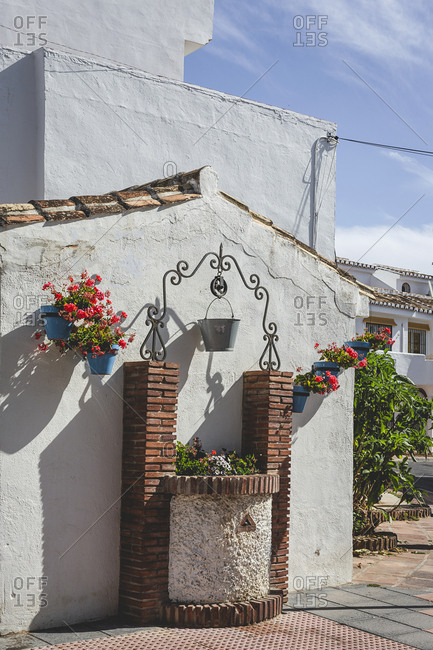 Typical Andalusian Spanish white villages. Typical architecture. Holidays. Travel. La cala de Mijas. Spanish flowers