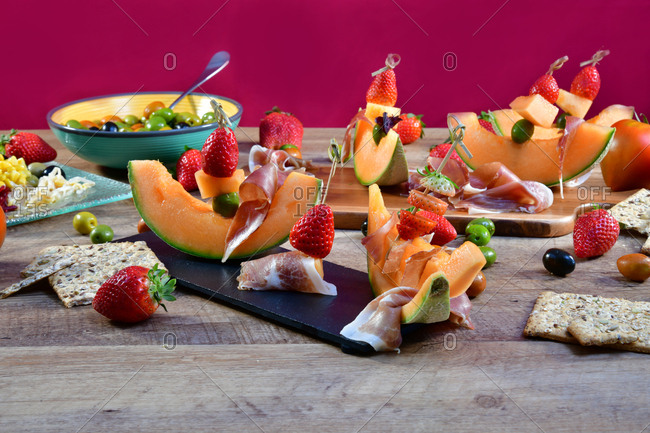 Arranged ingredients and snack with ham