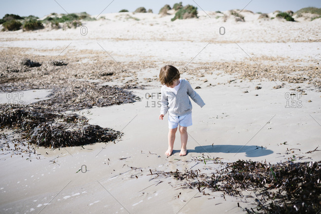 Cute baby standing with bare feet in sand in a beautiful beach in sunny day