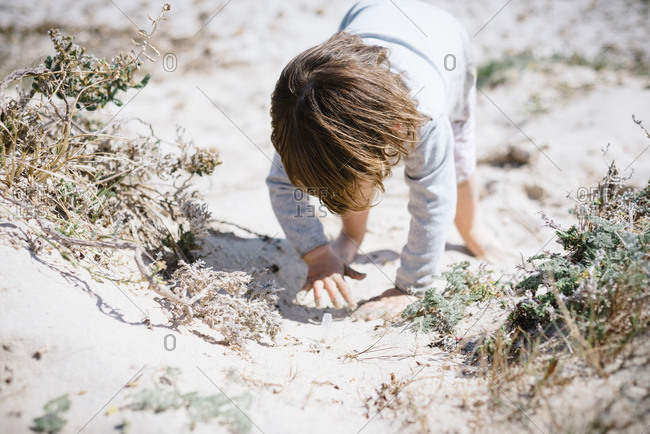 Cute curious kid exploring space by hand and crawling in dusty sandy beach