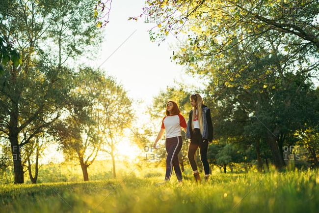 Happy lesbian couple walking in park