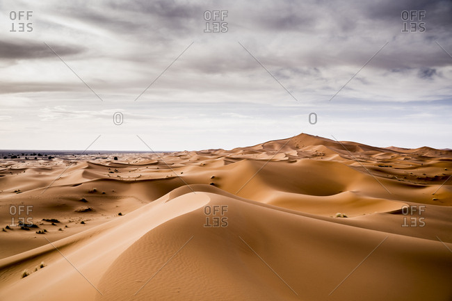 Landscape of desert with sand hills in Marrakesh, Morocco
