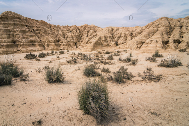 Amazing landscape of desert hills on background of blue sky