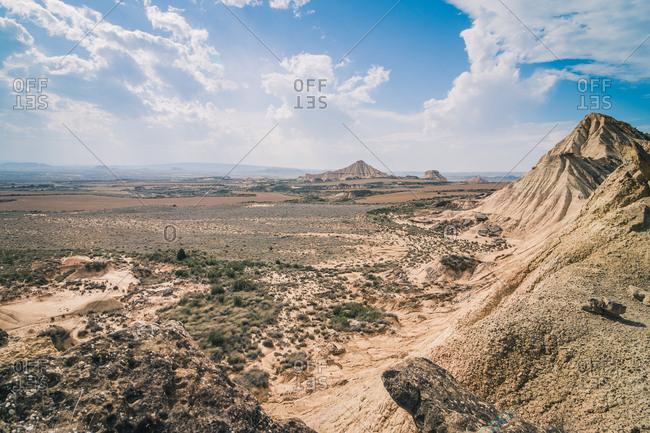 Amazing landscape of rocky desert hills in bright day