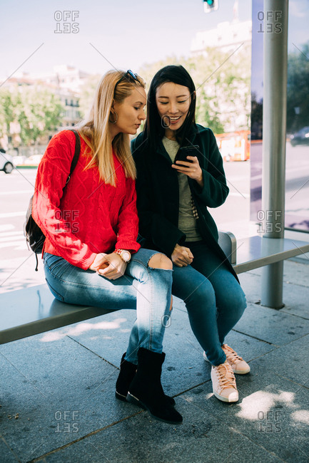 Young multiracial women browsing smartphone while sitting on bench of bus stop together