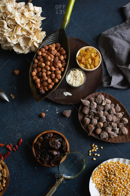 Various nuts and dried fruits: hazelnuts, walnuts, raisins from above