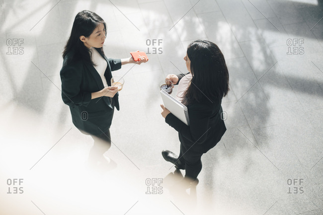 High angle view of female colleagues having coffee while talking in office