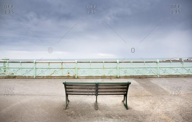 Park bench by the sea, Brighton, England