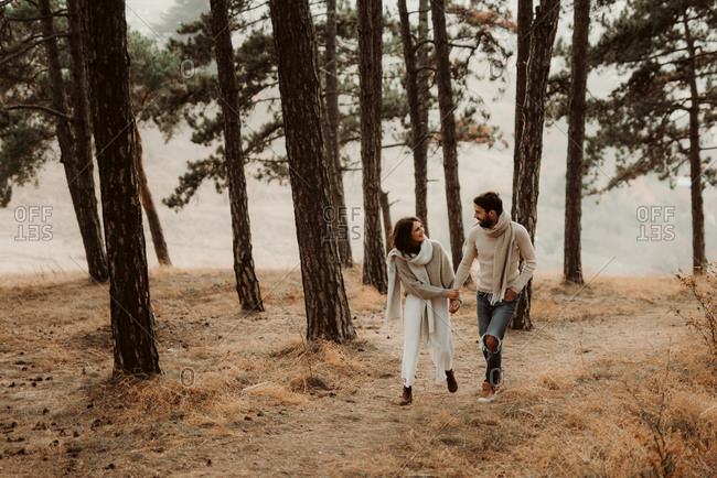 Couple walking hand in hand through a foggy forest
