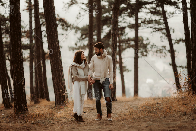 Happy couple walking hand in hand through a foggy forest