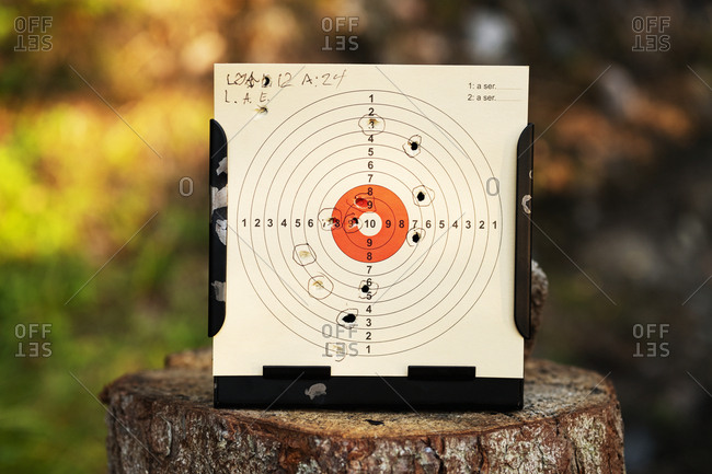 Bullet holes in shooting target