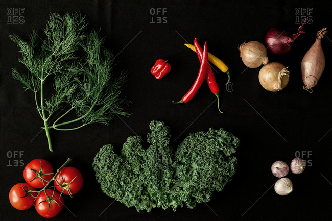 Vegetables on black background