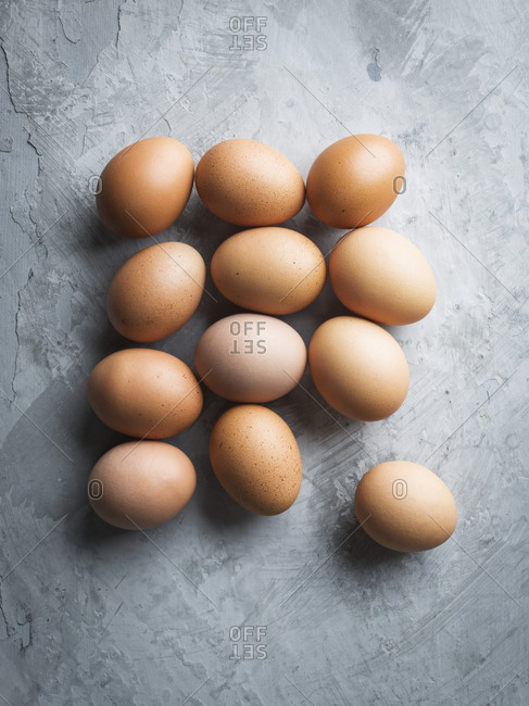 Eggs on grey background