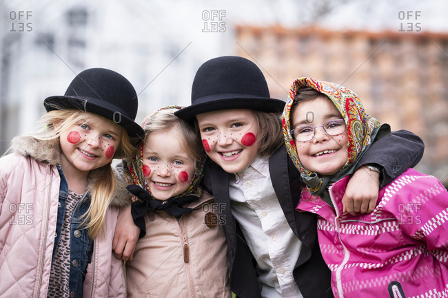 Girls dressed up as Easter witches