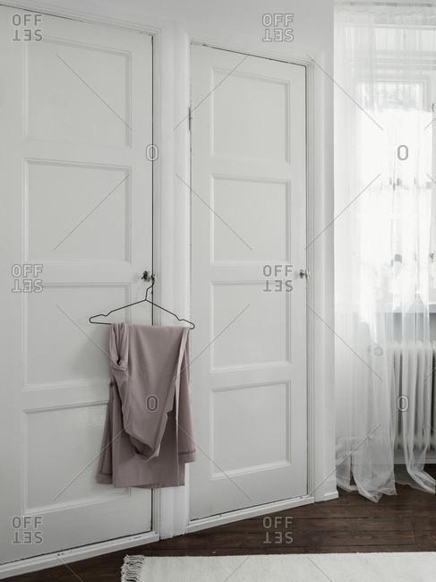 Wardrobe door with hanger
