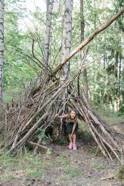 Girl inside hut