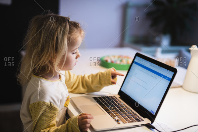 Girl using laptop - Offset Collection