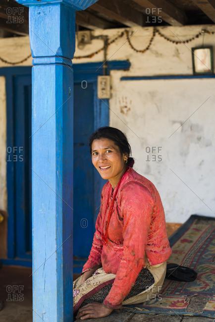 A Nepali woman in a small village house near Diktel