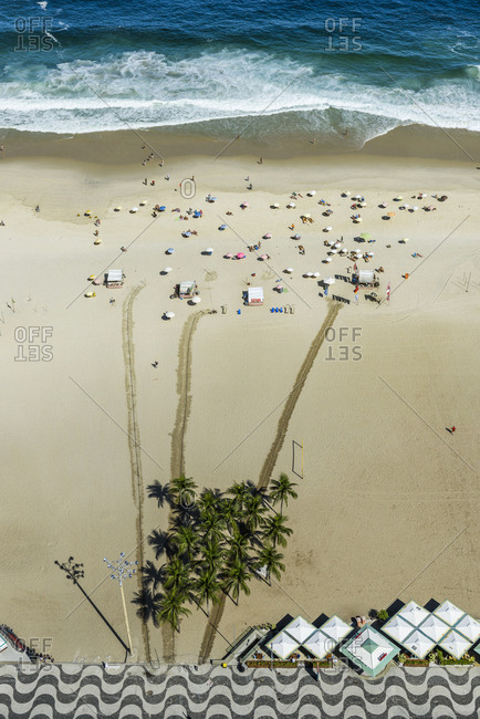 Rio De Janeiro, Brazil - March 22, 2017: Aerial view of people on beach