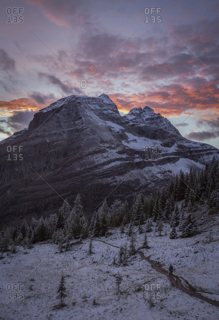 Mountain at sunset, Canadian Rockies, Yoho National Park, Alberta, Canada
