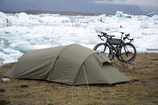 Bike camping at Jokulsarlon