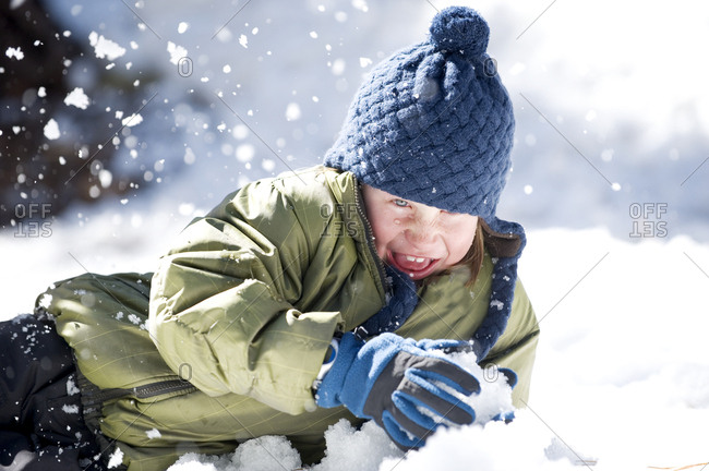 A boy plays in the snow in Lake Tahoe, California.