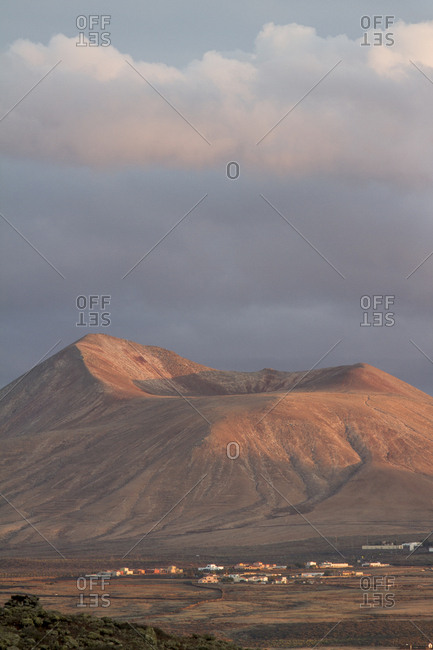 Volcanic landscape at sunset in Fuerteventura, Canary Islands