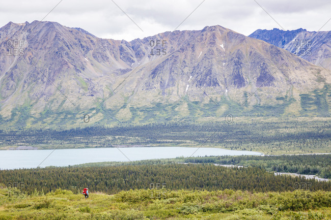 Distant View Of Hiker Hiking In Upper Twin Lake In Lake Clark National Park And Preserve, Alaska, USA