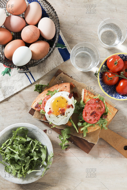 Open-Faced Fried Egg BLT Sandwich