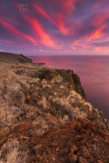 View over the Ancient Hawaiian Ruin of Kaunolu, Lanai, Hawai`i