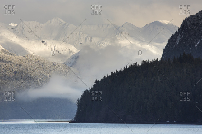 Mist enshrouds Prince William Sound and the Chugach Mountains, Cordova, Alaska