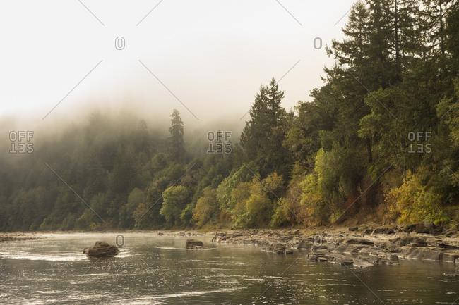 Drift boat fishing on the Umpqua River, Oregon