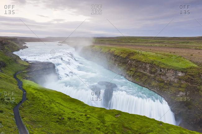 The scenic waterfall Gullfoss, Iceland