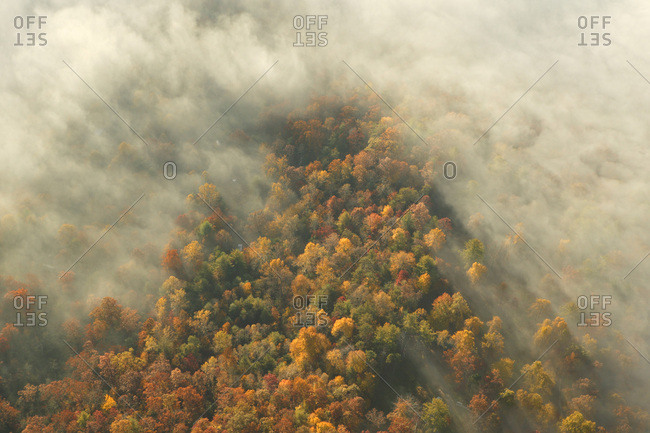 An aerial view of mountains.