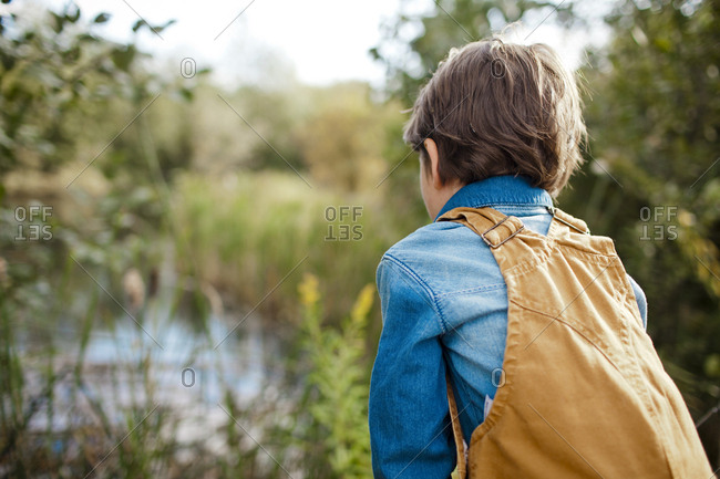 A young boy wearing overalls looks for wildlife in a wetland.