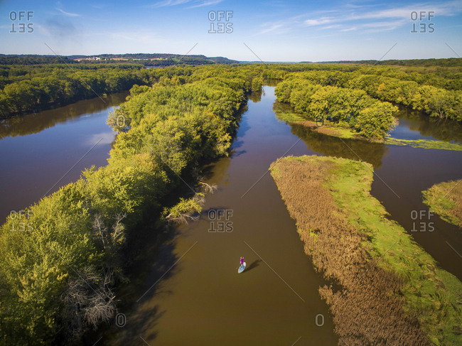 Aerial view of paddleboarder on the back waters of the Mississippi River in Illinois