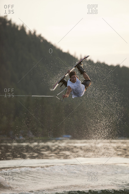 Male wakeboarding in Idaho.