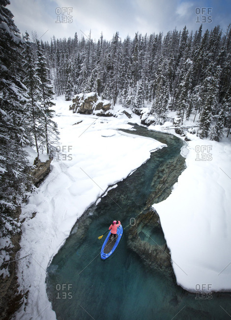 Paddle Boarder in Winter - Offset