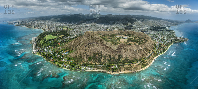 Helicopter overview of Diamond Head in Honolulu