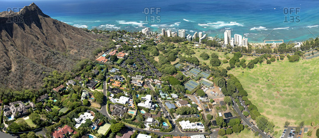 Helicopter overview of Diamond Head in Honolulu, Hawaii