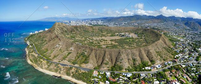 Helicopter overview of Diamond Head in Honolulu, Hawaii