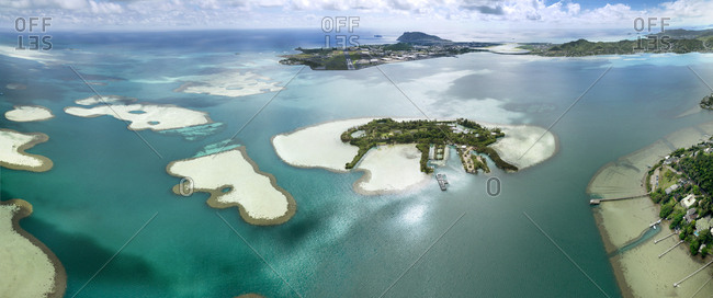Aerial view of Coconut Island in Hawaii
