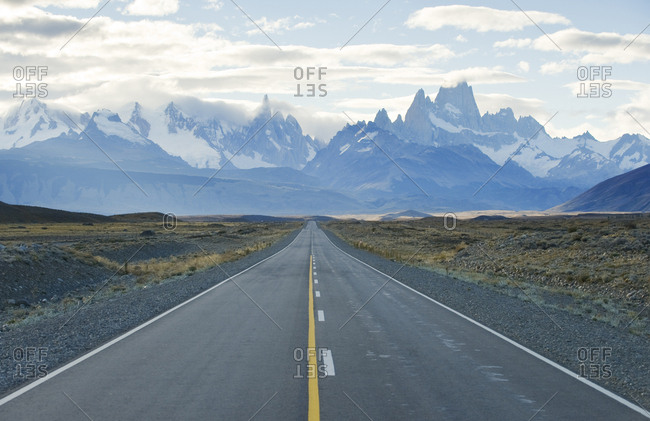 Looking down the road that leads to Chalten and Los Glaciares National Park, Argentina.