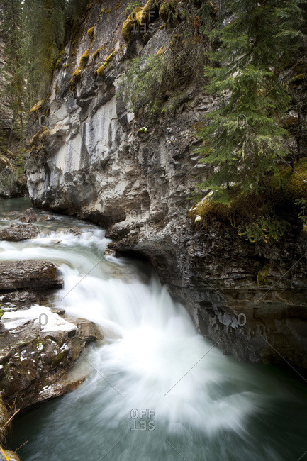 Water flows through Johnston Canyon in Banff National Park, Alberta, Canada.