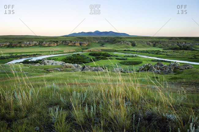 The Milk River runs through Writing On Stone provincial park that sits on the border of Alberta and Montana in Canada.
