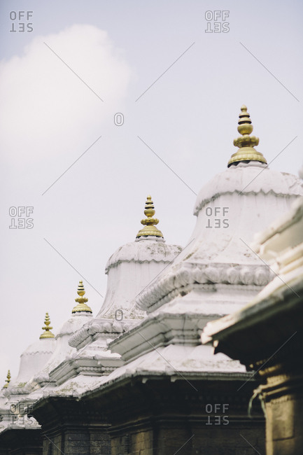 Hindu temples are aligned in Kathmandu's Pashupathinath Temple in Nepal.