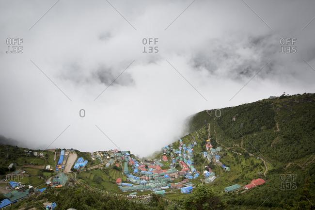 Clouds surround Namche Bazaar in Nepal's Everest Region.