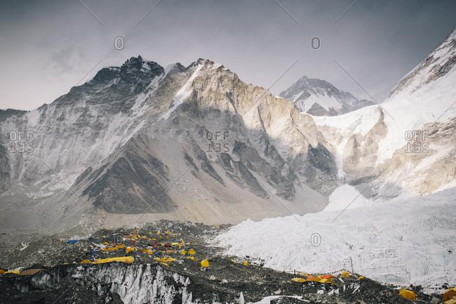 Everest Base Camp sits on the Khumbu Glacier in Nepal's Himalayas.