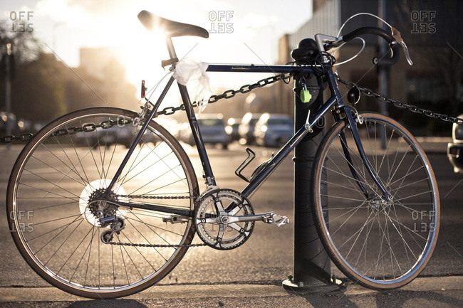 A commuter bike locked up at an intersection in Hobart, Australia.