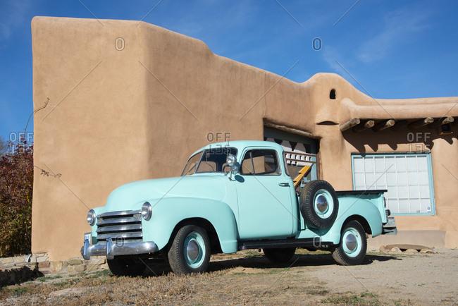 Taos, New Mexico - November 19, 2017: Vintage blue truck